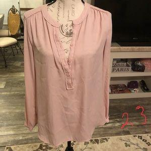 Ann Taylor loft peach half button down blouse S